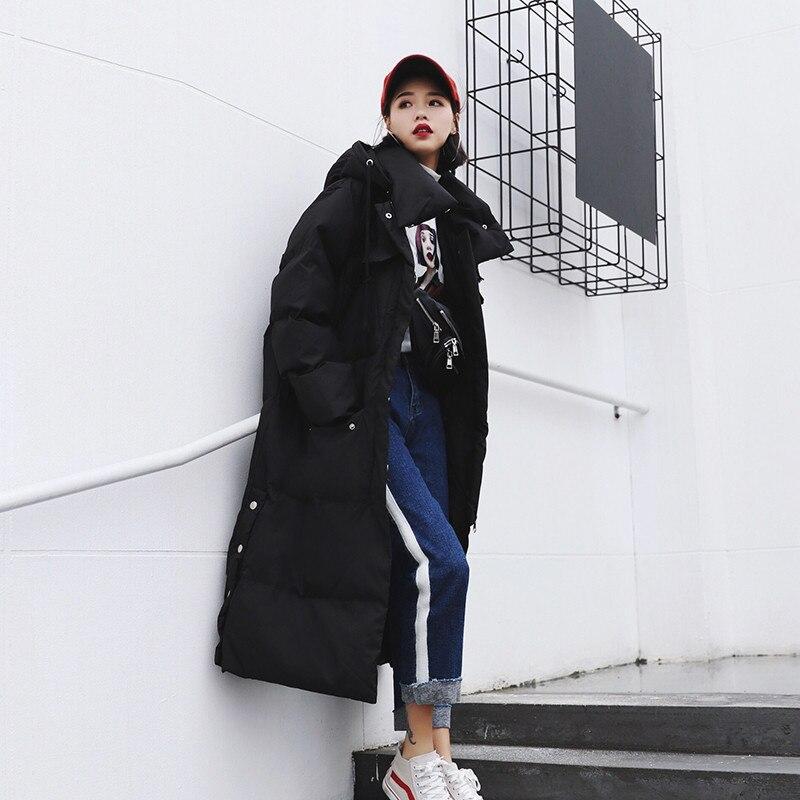 2019 frauen Winter Mantel Neue Mode Lange Graben Mit Kapuze Outwear Unten Baumwolle Padded Windjacke Gerade Mäntel Dame Warme Mantel-in Parkas aus Damenbekleidung bei  Gruppe 3