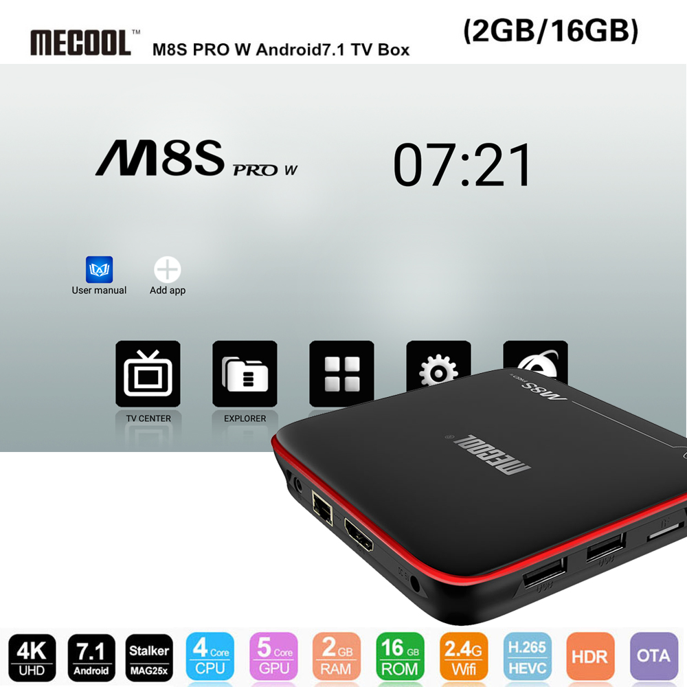 цена на MECOOL M8S PRO W Android TV Box S905W Quad Core 2.4GHz WiFi 4K H.265 Smart Set-Top Box 2G DDR3 + RAM 16G ROM Multi-Media Player