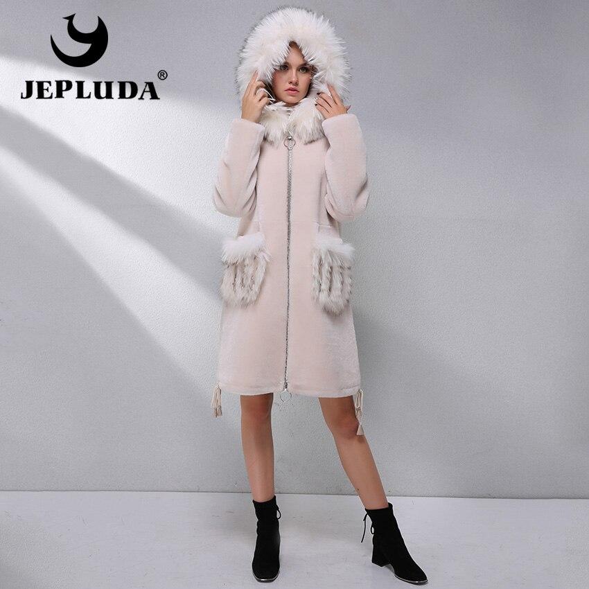 JEPLUDA épais chaud naturel australien mouton fourrure manteau chapeaux poche avec fourrure de renard hiver vraie fourrure veste réel fourrure manteau femme vêtements