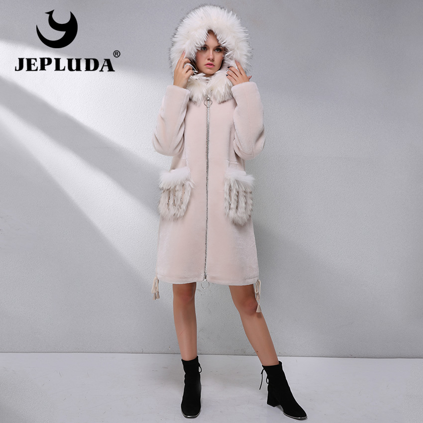 JEPLUDA Thick Warm Natural Australian Sheep Fur Coat Hats Pocket With Fox Fur Winter Real Fur Jacket Real Fur Coat Woman Clothes