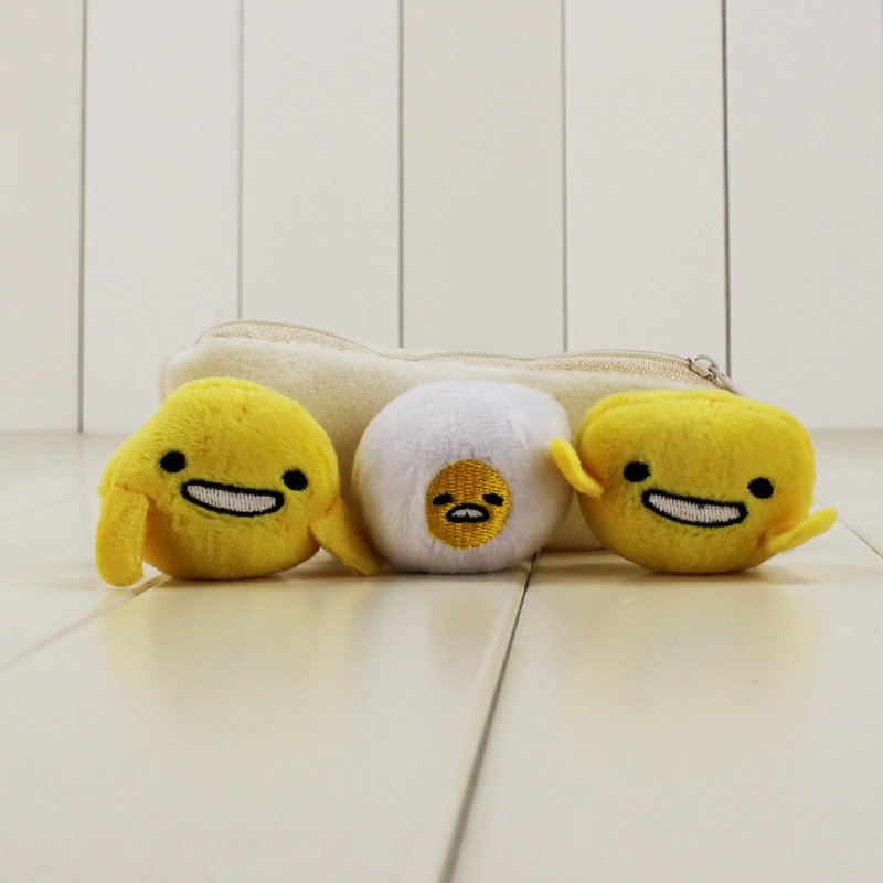 14cm lazy Gudetama Egg Keychain pea pod keychain with 3 cute different dolls in it kawaii