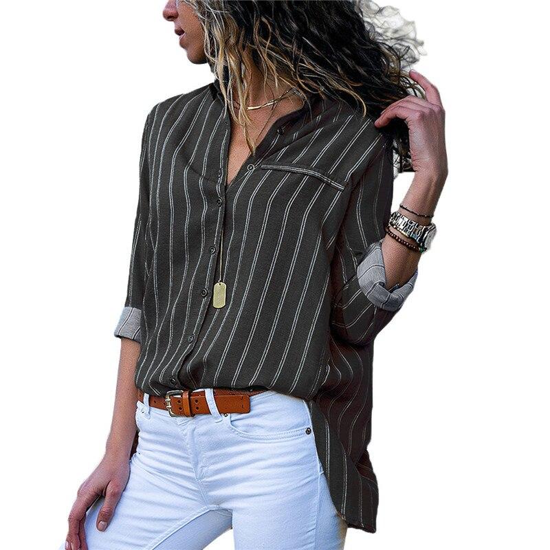 Fashion Women Tops Shirt Blouses 2019 Autumn Elegant Long Sleeve Striped Chiffon Blouse Female Work Wear Shirts Plus Size S 3XL in Blouses amp Shirts from Women 39 s Clothing