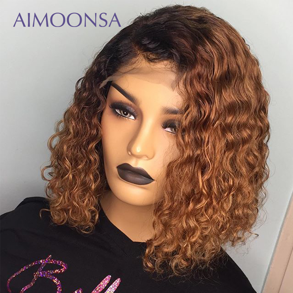 Honey Blonde Lace Front Wigs Ombre Wig Human Hair Deep Curly Wig Short Bob Wigs Colored