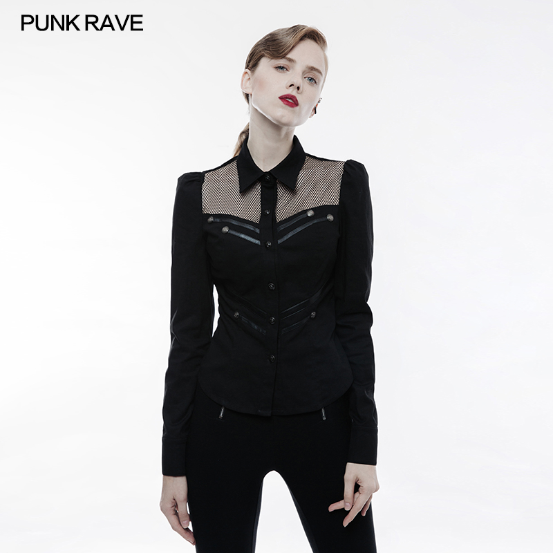 PUNK RAVE Women Steampunk Vintage Sexy Mesh Blouse Chest Leather Straps Decoration Glothic Lolita Ladies Military Shirt