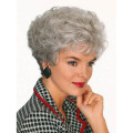 Short Curly Hairstyle Grey Color Heat Resistant Fiber Synthetic Hair Mom Wigs SW0108