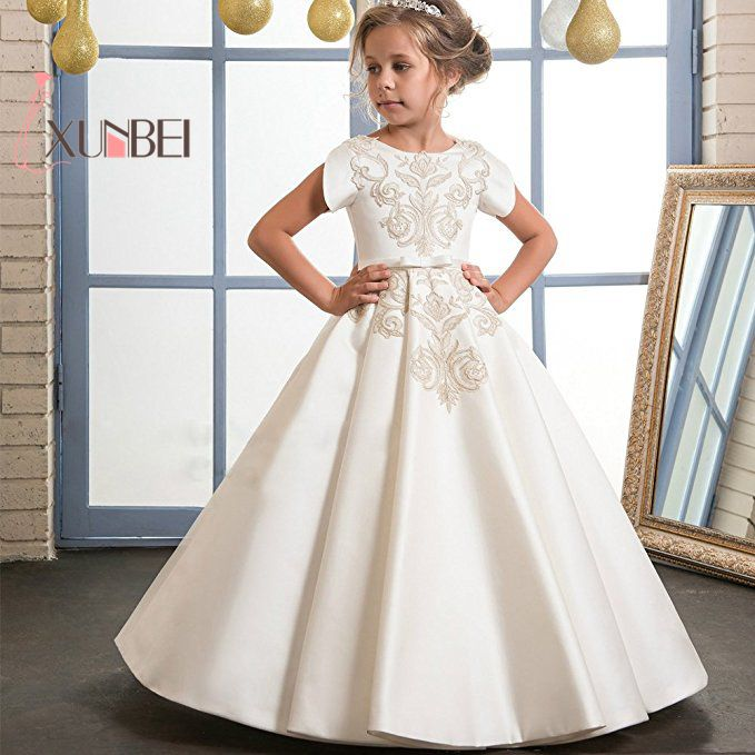 Big Promotion Ivory Appliqued   Flower     Girl     Dresses   2019 Floor Length   Girls   Pageant   Dresses   First Communion   Dresses