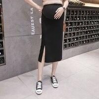 Новое платье для беременных 2019, летняя Модная трикотажная юбка с разрезом, юбка в Корейском стиле, юбка для беременных