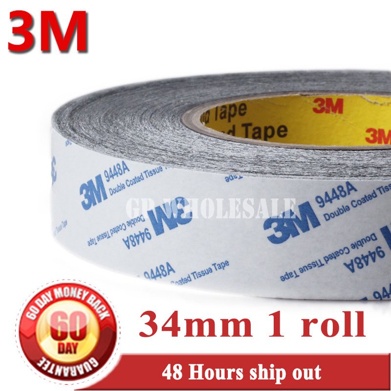 34mm* 50 meters 3M BLACK 9448 Double Sided Adhesive Tape Sticky for LCD /Screen /Touch Dispaly /Housing /LED #961 1x 76mm 50m 3m 9448 black two sided tape for cellphone phone lcd touch panel dispaly screen housing repair