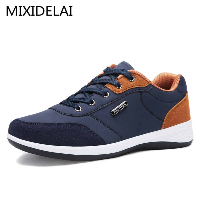 Men Casual Shoes 2018 Spring Autumn Lace up British Style Breathable Mesh Suede Top Fashion Flat Patchwork Leather Shoes