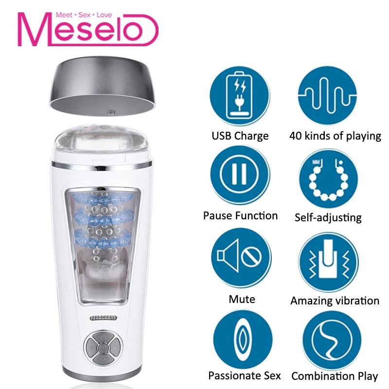 все цены на Meselo Automatic Blowjob Sucking Male Masturbator For Man Thrusting Retractable Vibrator Vagina Real Pussy Sex Toys For Men New
