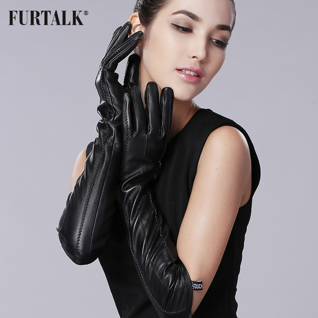 FURTALK Womens Winter Long Evening Dress Texting Leather Gloves Sleeves Fleece Lined Ruched Elbow Length