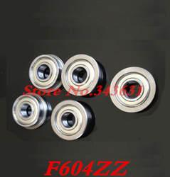 F604ZZ фланец шариковая втулка подшипник 4*12*4 мм Металл с Двойным экраном радиальные вала