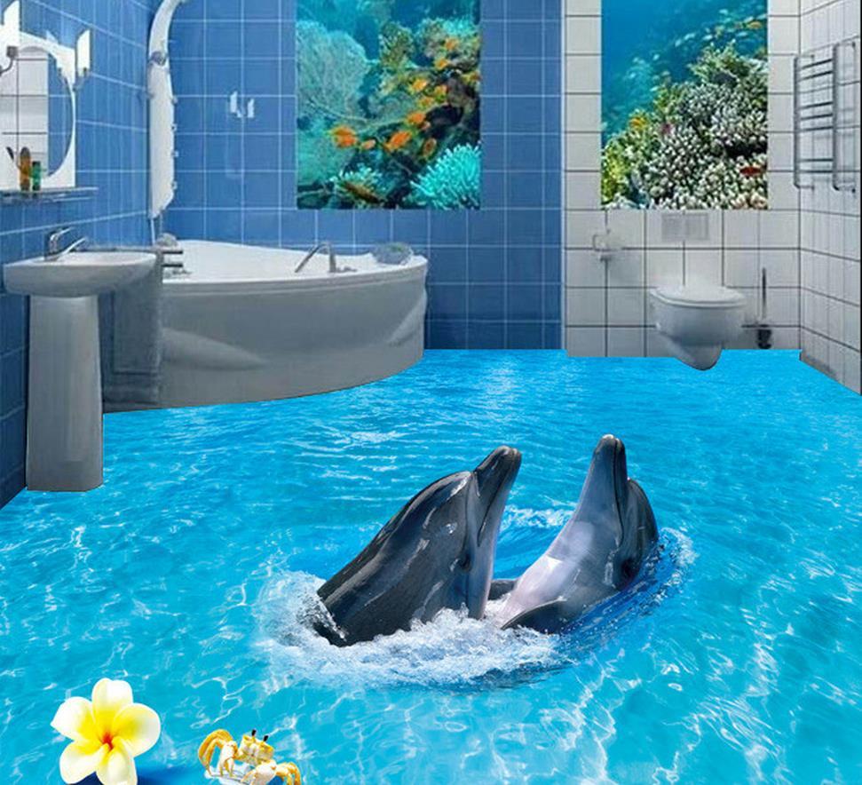 3d Floor Wallpaper Murals Aliexpress Com Buy 3d Floor Wallpapers 3d Bathroom Floor