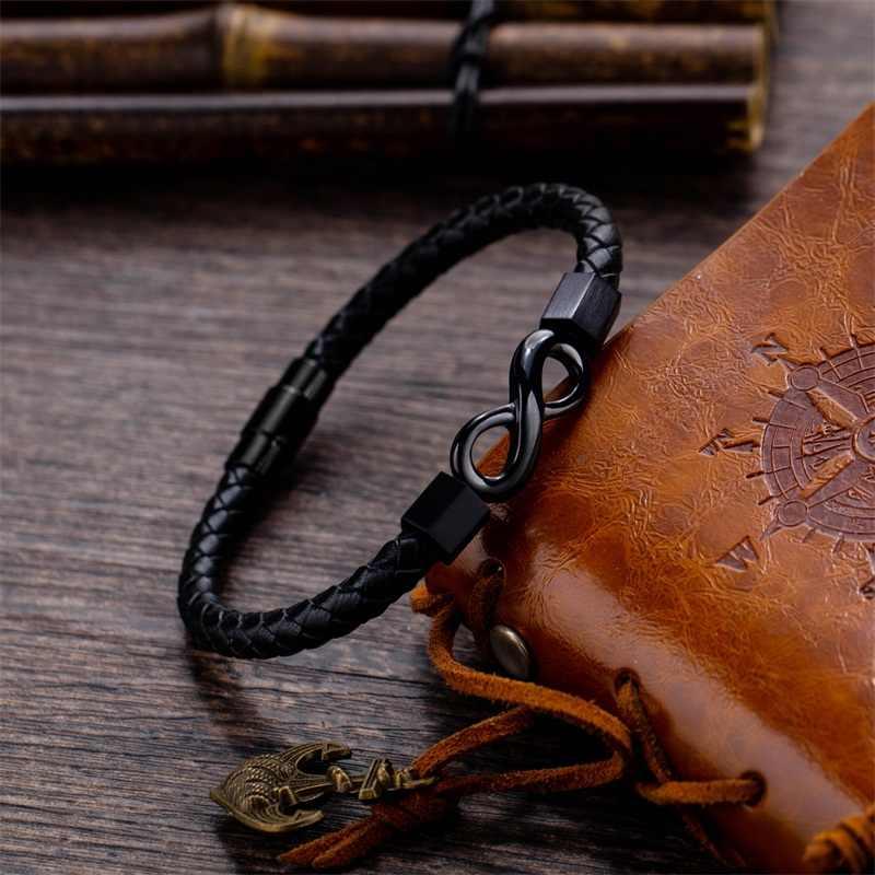 AZIZ BEKKAOUI gorąca sprzedaż popularne niekończąca się miłość bransoletka nieskończoność skórzane bransoletki ze stali nierdzewnej dla mężczyzn moda biżuteria Dropship
