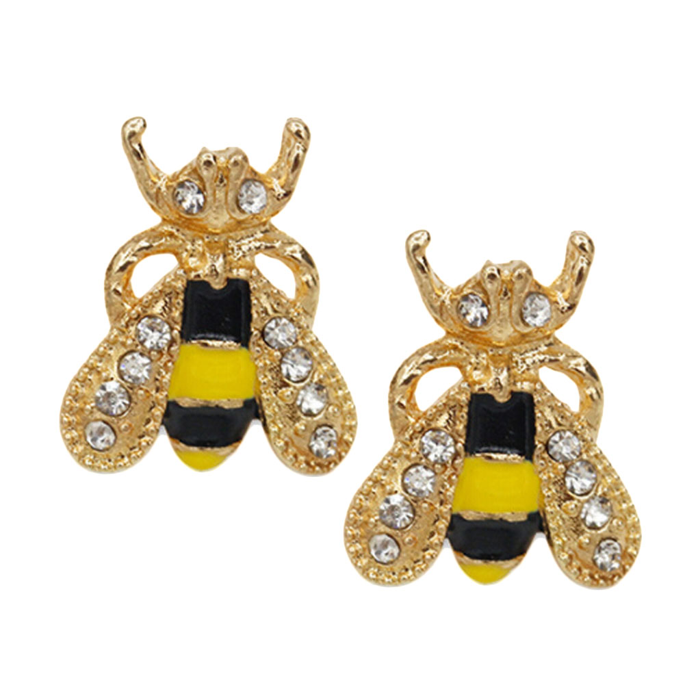 1Pair/set Fashion Cute Women Lady Girl New Hot 2017 Lovely Popular Small Bee Crystal Insect Stud Earrings Gift