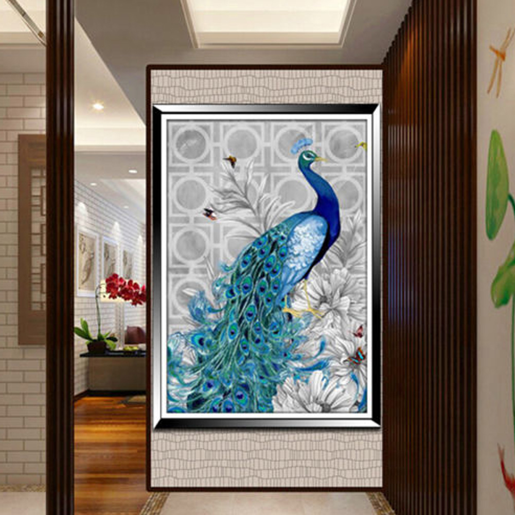 Beautiful Blue Peacock 5d Diamond Embroidery Diy Pictures