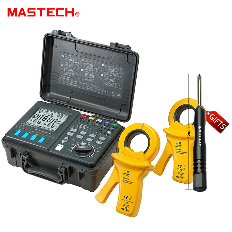 MASTECH MS2307 Intelligent Earth Resistance Tester Meter USB2.0 Port with 2 Clamps and 4 Current Leakage kit  цены