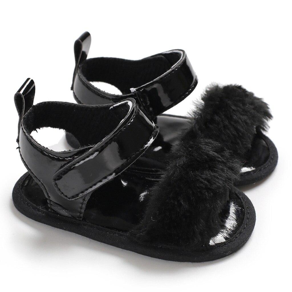 Однотонные сандалии для новорожденных девочек с мягкой подошвой, дышащие простые эластичные сандалии, обувь принцессы для малышей - Цвет: Черный