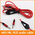 Red 3.5mm Aux Cable 3.5 MM male to male Stereo audio cable aux car audio line with micphone