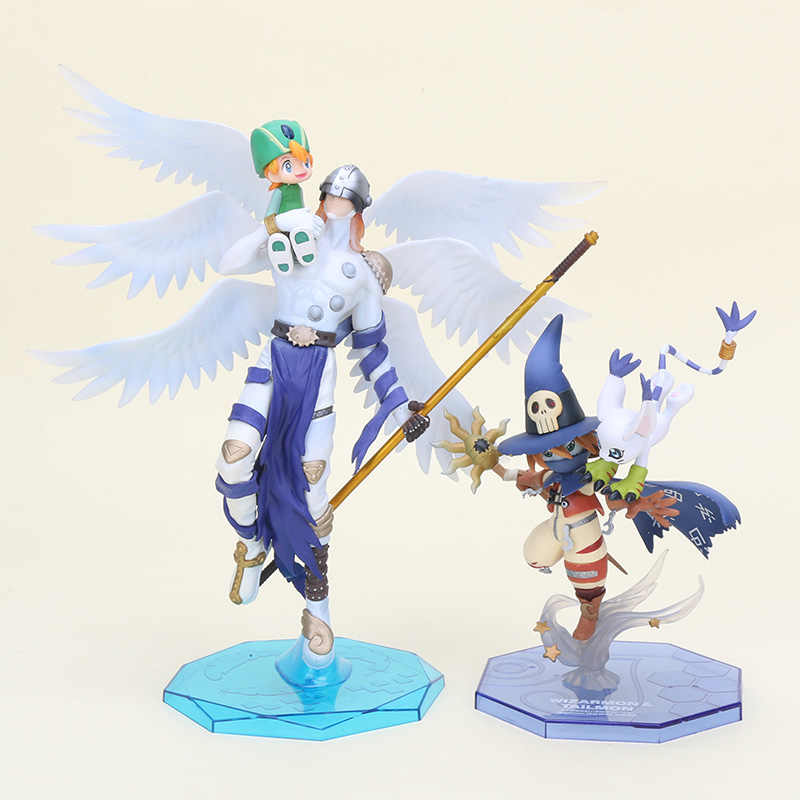 Figura Digimon Adventure Takaishi Takeru & Angemon Digimon Angewomon & Wizarmon Yagami PVC Action Figure Toy Colletion Modelo