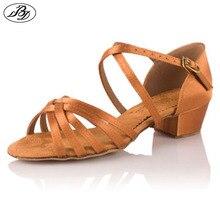 Dancesport BD Dance Shoes BD 603 Girls Latin Dance Shoe Child Heel Sandal Ballroom Dance Shoe Low Heel