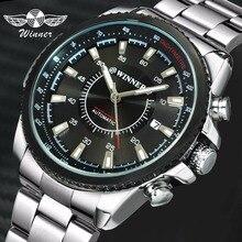 Montre bracelet mécanique automatique, gagnant, marque de luxe pour hommes, affichage des dates, avec bracelet en acier inoxydable, 2019