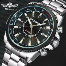 WINNER Official Business Automatic Mechanical Watch Men Date Display Top Brand Luxury Stainless Steel Strap Wristwatches 2019