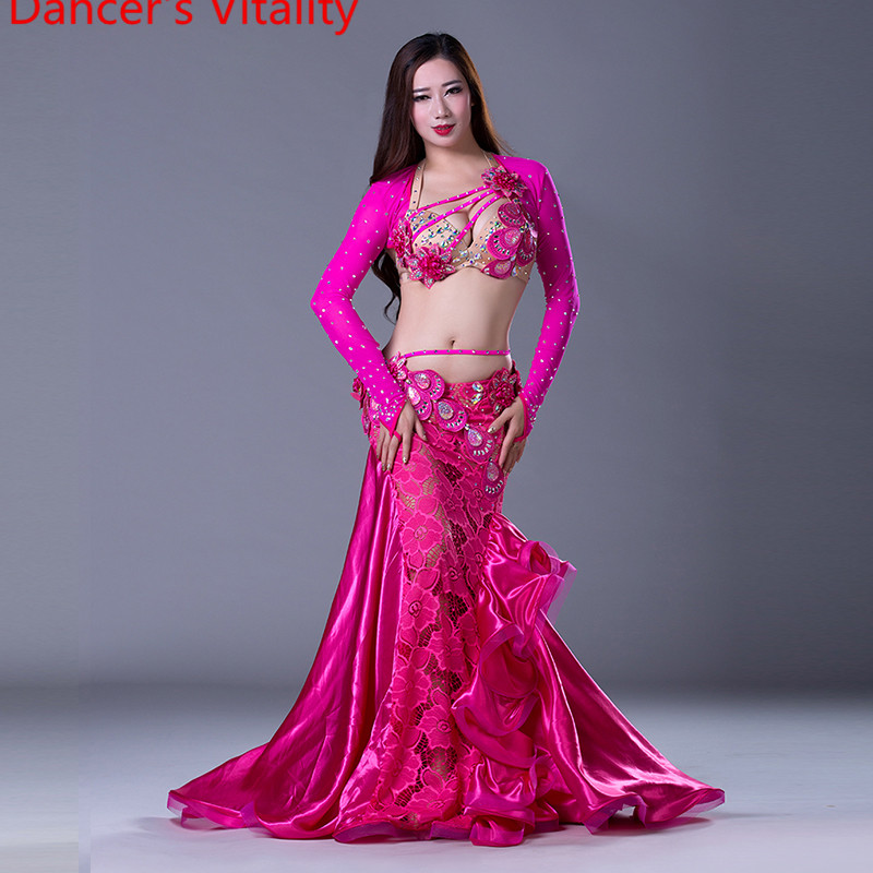 NEW stage Luxury Girls Belly Dance Costumes Long Sleeves Bra Lace Skirt 2pcs Belly Dance Suit