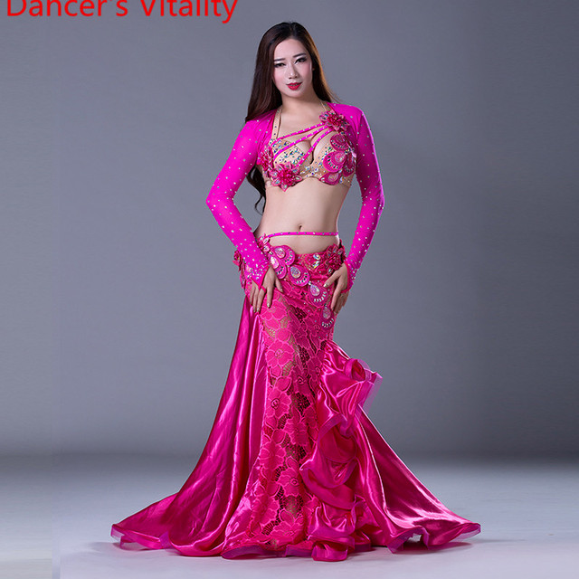 NEW stage Luxury Girls Belly Dance Costumes Long Sleeves Bra+Lace Skirt 2pcs Belly Dance Suit Women Ballroom Dance Set
