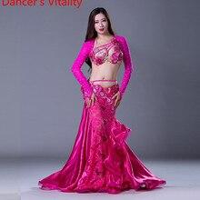 Novo estágio de luxo meninas trajes de dança do ventre mangas compridas sutiã + saia renda 2 peças terno de dança do ventre feminino conjunto dança de salão