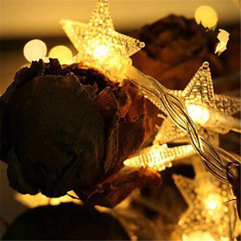 2019 Новый год 3 м 6 м 10 м светодиодный строки горит звезда Фея гирлянды Водонепроницаемый для Рождество Свадьба украшение дома Батарея питание