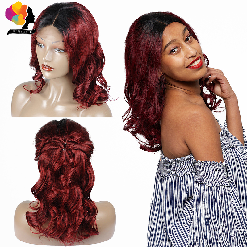 Remyblue Ombre Red Burgundy Brazilian Lace Front Human Hair Wigs T1B 99J Loose Wave 4 4