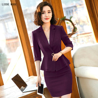 Summer Woman Half Sleeve Blazer and Mini Skirt Set for Lady Plus Size Formal Office Skirt Suit Women Black White Purple Orange