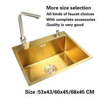 Free Shipping Standard Kitchen Manual Sink Single Trough Gold Color Food Grade 304 Stainless Steel Hot