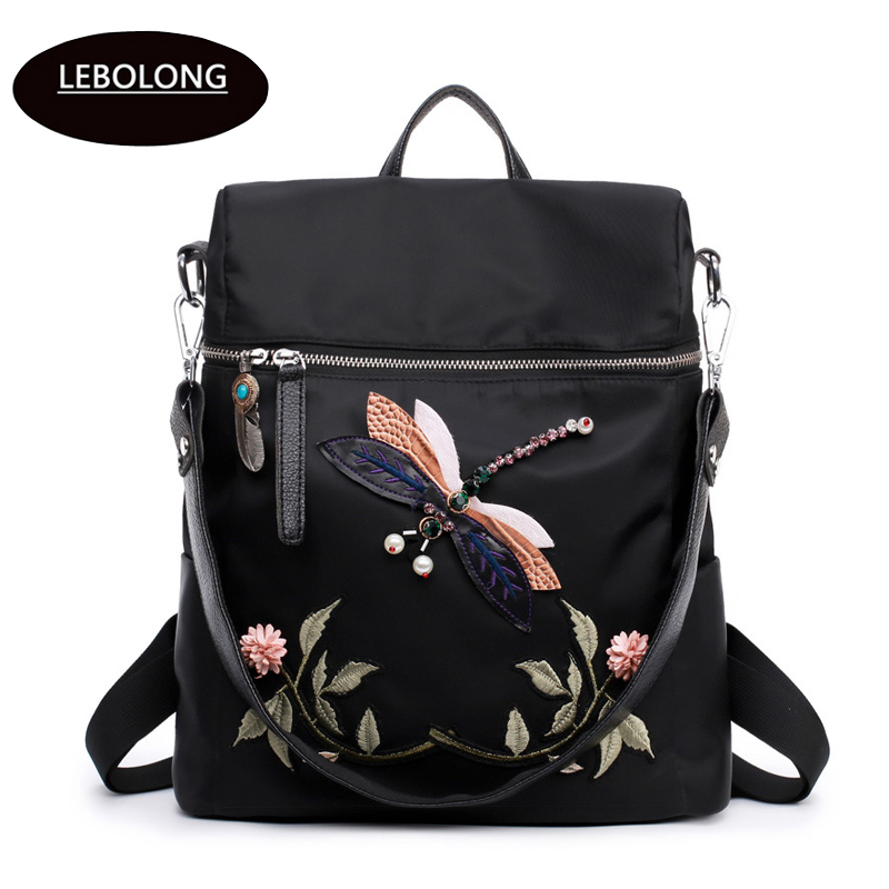 Fashion Backpack Women Nylon School Bags For Teenage Girls Dragonfly Embroidery Practical Functional Travel Female Backpack