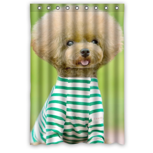 Hot Sale Modern Design Custom Polyester Fabric Bath Screen Printed Cute Doggy Poodle Teddy Shower Curtain 48 X 72