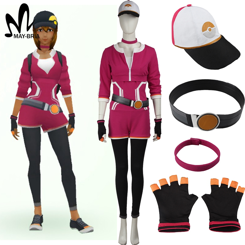 adult women Halloween costumes Pokemon GO shirt red team uniform red Female pokemon pocket monster Trainer cosplay costume hat