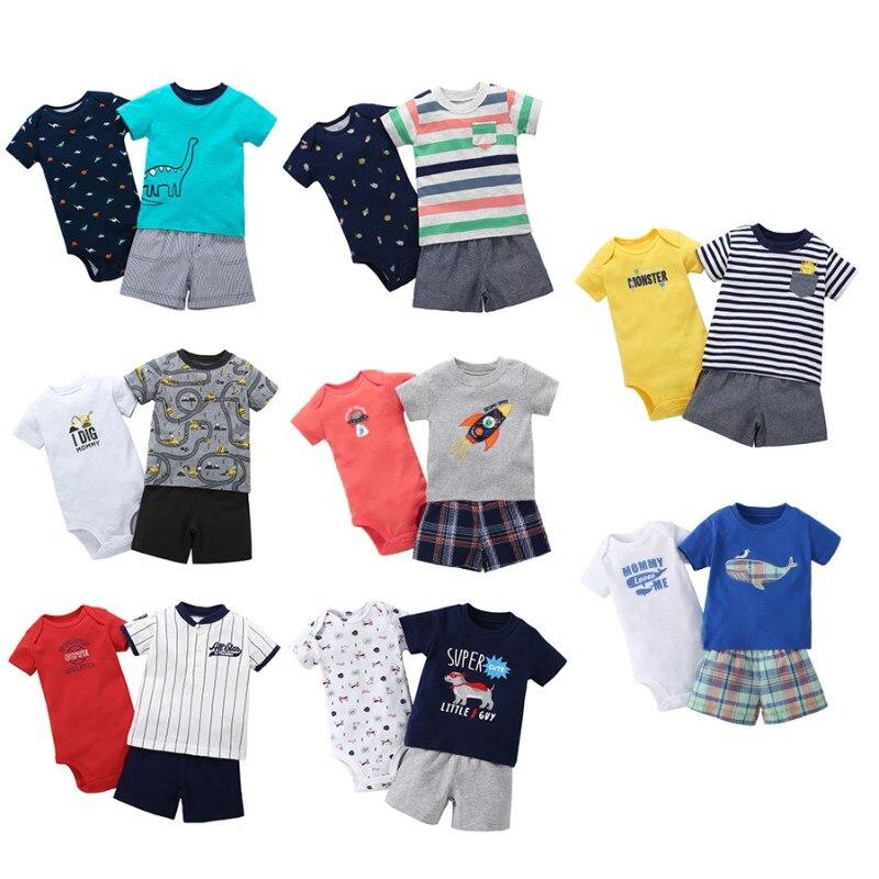 3 PCS Baby Boy Clothes Set Cartoon Striped Car Dinosaur T-shirt + Shorts + Baby Rompers Baby Clothes Newborn Boy Clothes