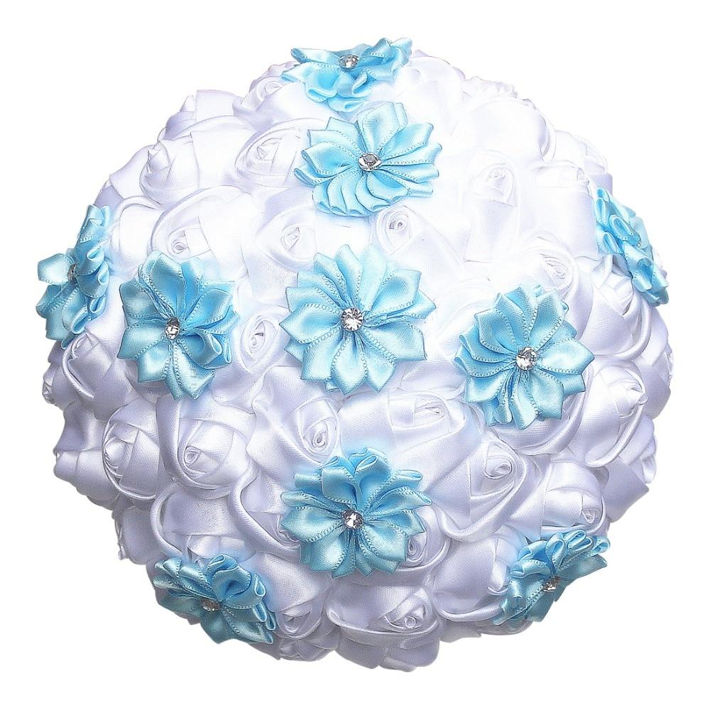 Aliexpress Buy White Satin Roses Royal Blue Flower Wedding