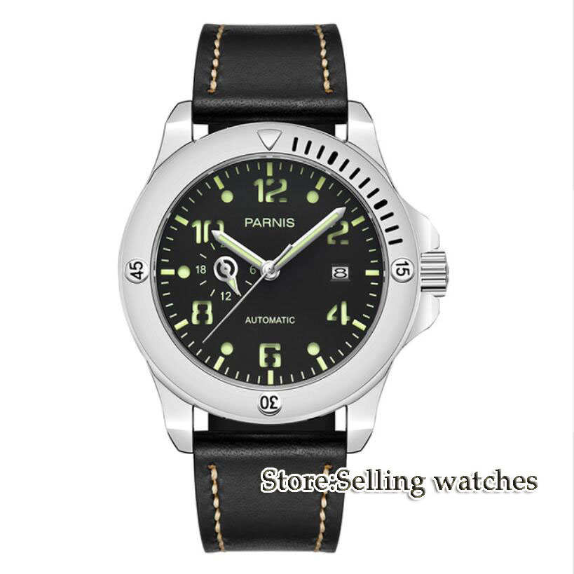Solid 44mm Parnis watch 24 hours Sapphire glass black dial luminous MIYOTA Automatic movement Men's watch 44mm planca black dial luminous 24 hours miyota automatic movement men s watch men pl1