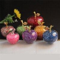 Presentes de natal maçã de cristal miniatura com enchimento colorido de vidro de luxo natal artesanato de maçã acessórios de decoração para casa presente