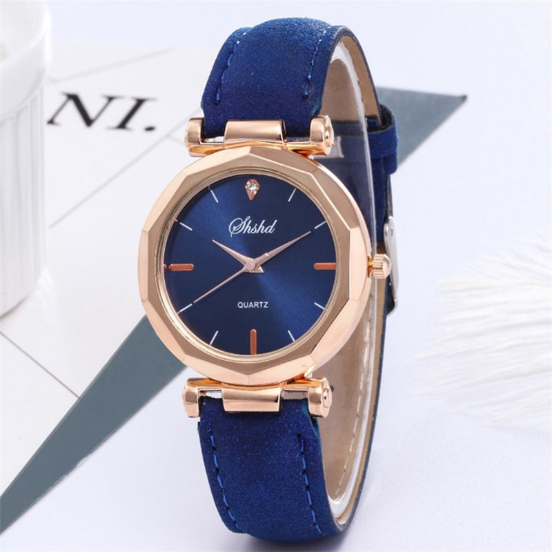 Women Classic Quartz Wrist Watch Rhombus Head Frosted PU Leather Band Casual Watch LL@17