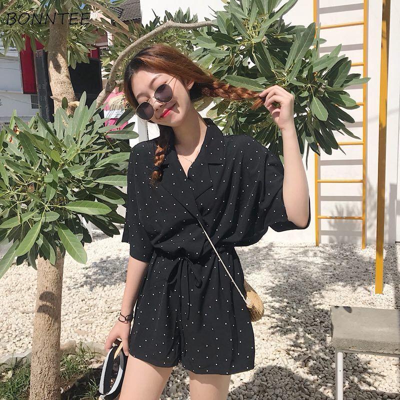 Rompers Women Dot Simple All-match V-Neck Trendy Elegant Korean Style Womens High Quality Ladies Soft Summer Breathable Lovely
