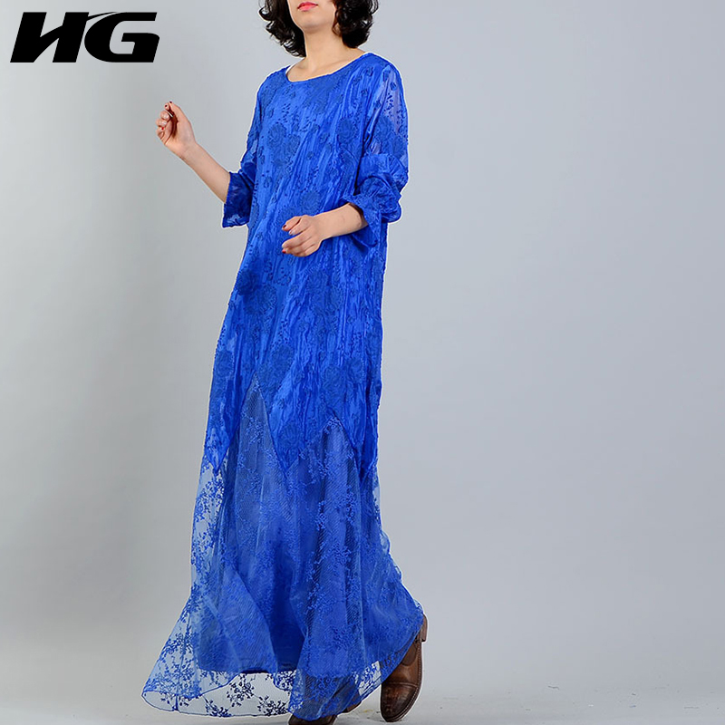 [HG] Korea 2018 New Spring Fashion Women Lace Patchwork Solid Color Dress Female Ankle-Length O-Neck Full Sleeve Dress LJT1248
