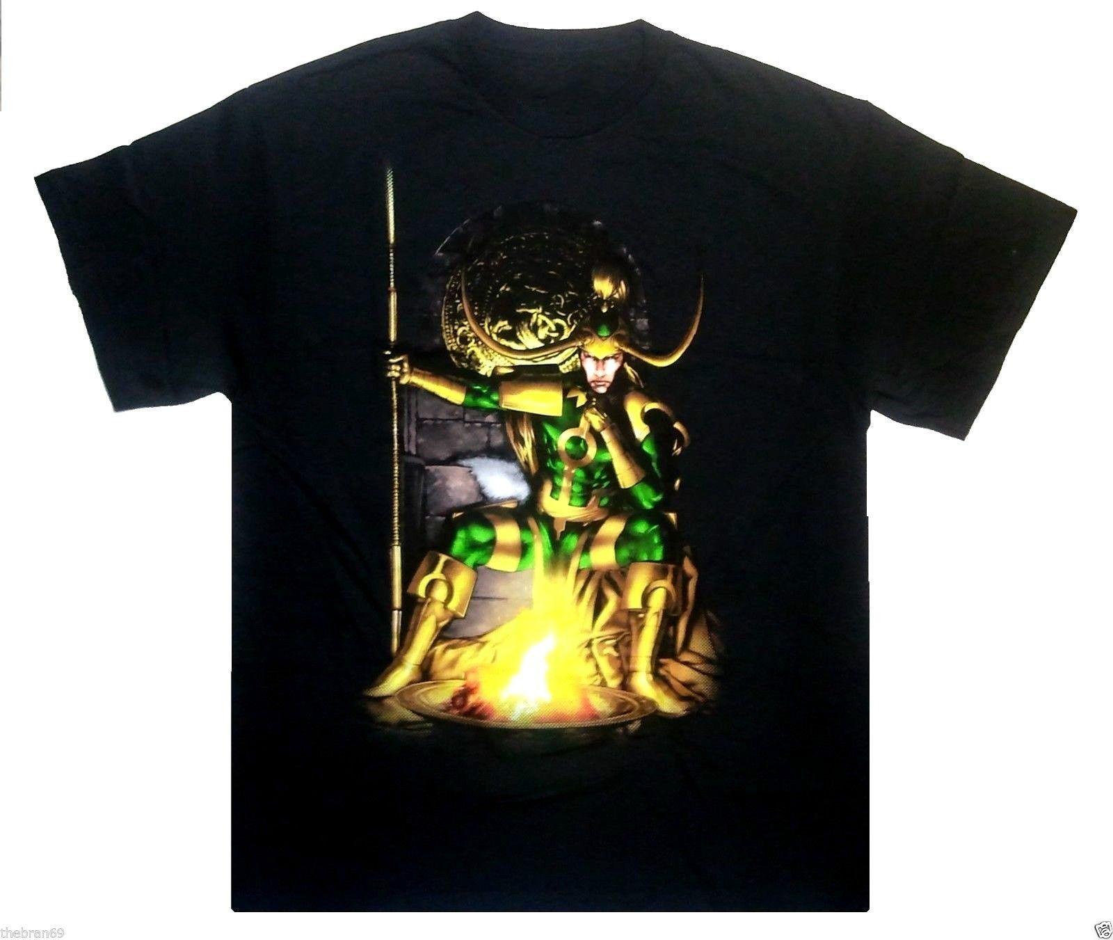 Marvel: 'Loki Throne' 100% Cotton Comic Book Superhero Character T-Shirt {M-L} Short Sleeve Men T shirt Tops Summer