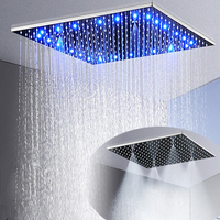 New LED 2 Functions Ceiling Mounted Shower Head 304 Stainless Steel Shower Panel Top Rain Misty 16 inch / 20 inch / 24 inch