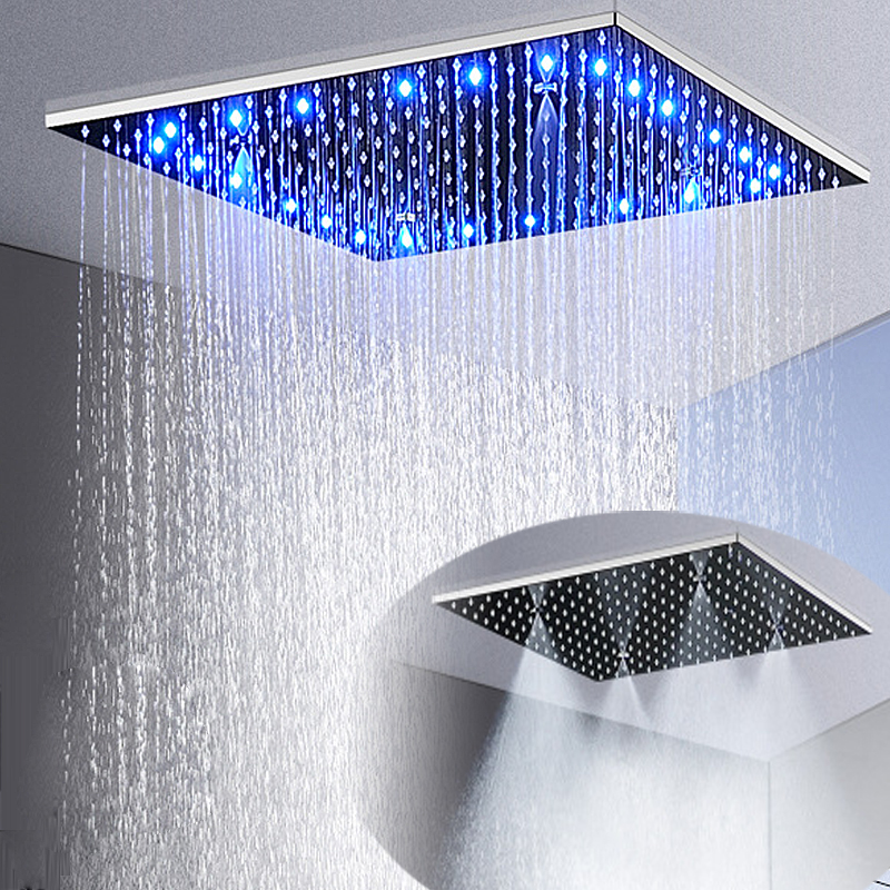 Nouveau LED 2 Fonctions Plafond Monté la Tête De Douche 304 Panneau de Douche En Acier Inoxydable Haut Pluie Misty 16 pouces/20 pouces/24 pouces