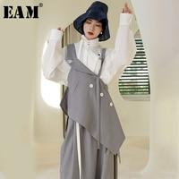 [EAM] 2019 New Spring Summer V collar Sleeveless Obique Button Irregular Hem Personality Tank Tops Women Fashion Tide JR445
