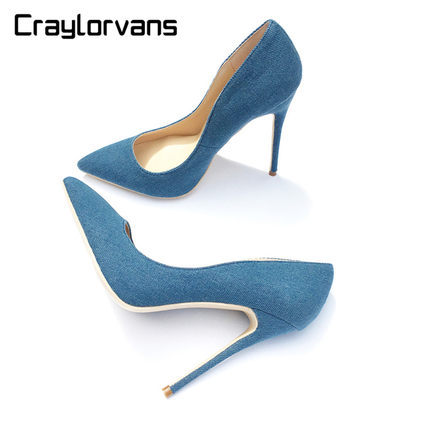 Craylorvans NEW ARRIVE Denim Shoes Heel For Ladies Pointed Toe 2018 Women  Pumps Elegant Blue Color 12 10 8 cm High Heels Shoes 2c5b14aec70a