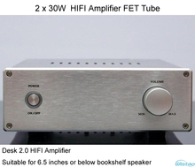 IWISTAO 2x30W HIFI Amplifier FET Tube for Desk 2.0 Speaker 6.5 inches Whole Aluminum Casing Speaker Protection Circuit